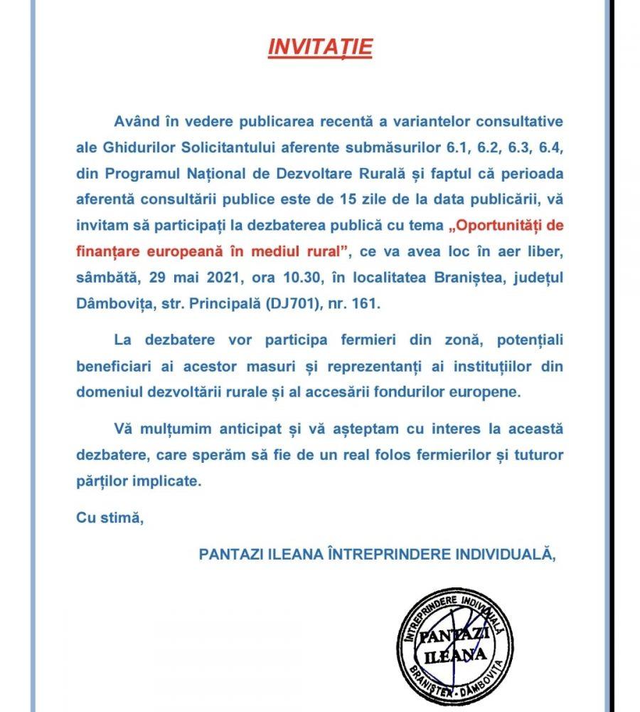 INVITATIE DEZBATERE FONDURI EUROPENE PENTRU FERMIERI
